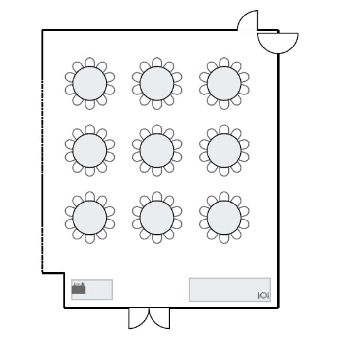Meeting room floor plan with round table seating