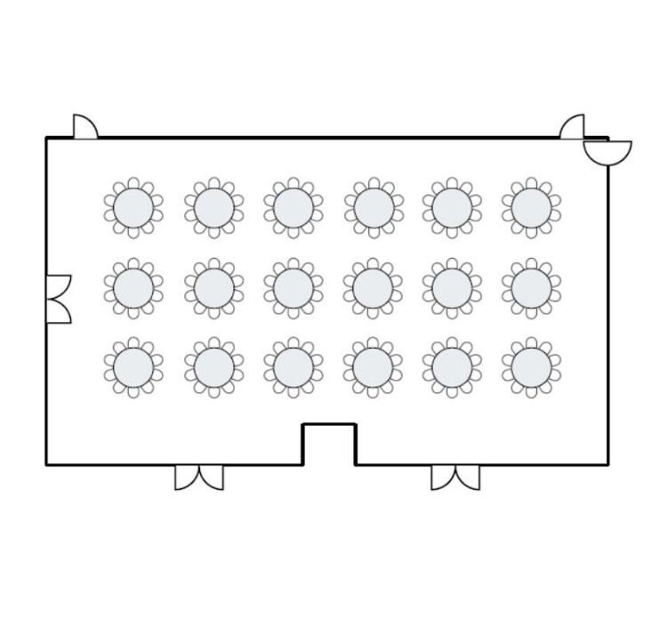 Ballroom floor plan with round table seating