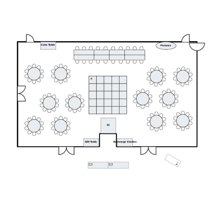 Ballroom floor plan with round table seating and dance floor