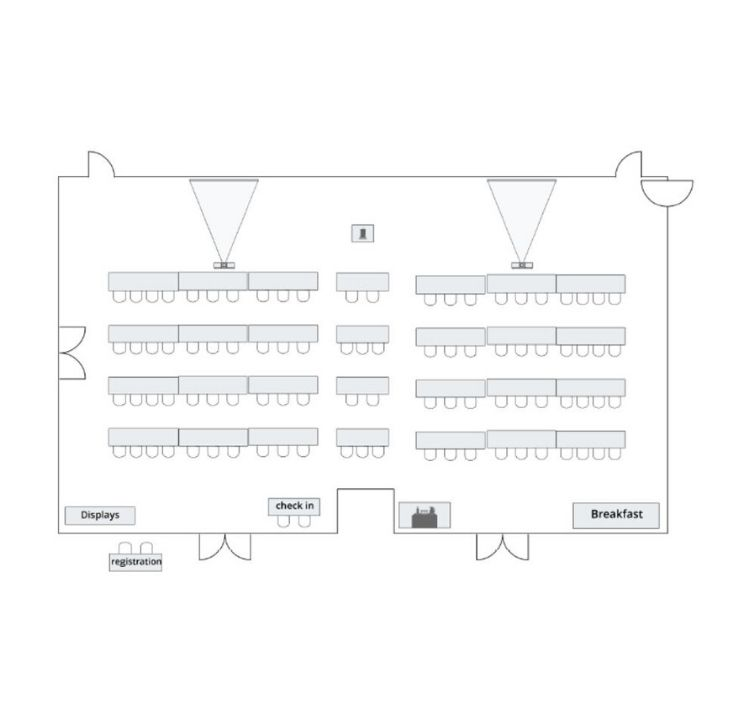 Meeting room floor plan with classroom seating