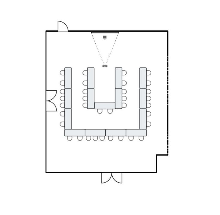 Meeting room floor plan with double u-shape seating