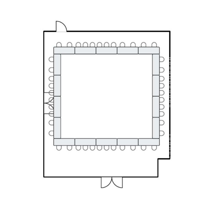 Meeting room floor plan with hollow square seating